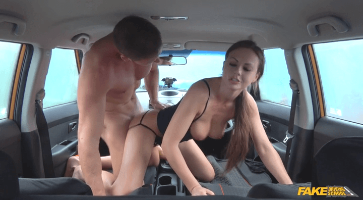 FakeDrivingSchool: Backseat blowjobs and deep creampie – Tina Kay